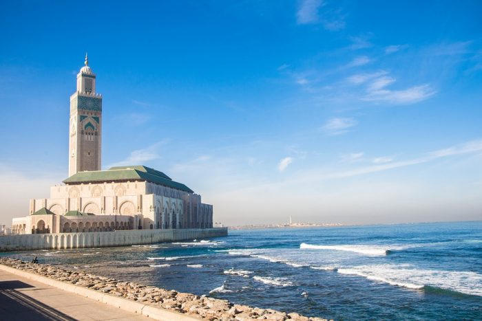 Morocco Mosque Casablanca Sea Travel Architecture