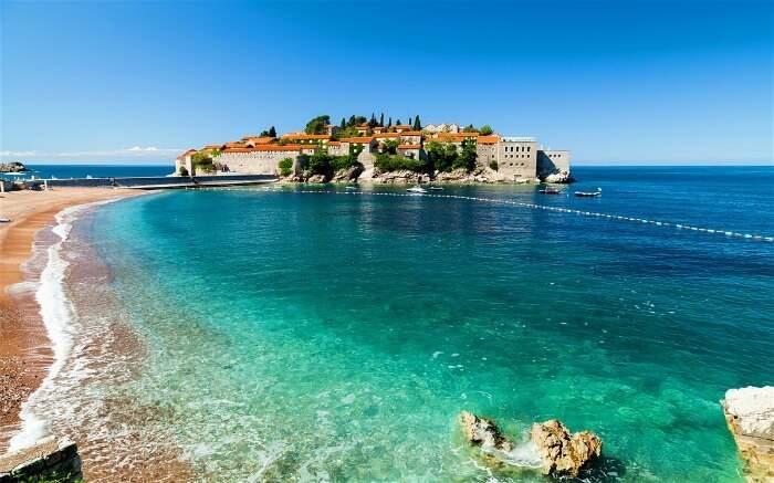 Sveti Stefan Beach, Adriatic Coast, Montenegro